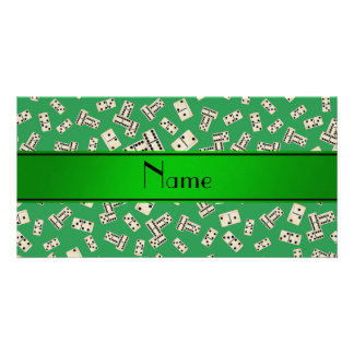 Personalized name green dominos photo greeting card
