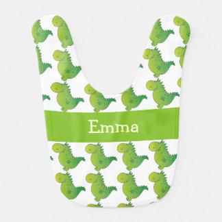 Personalized Name Green Dragon Pattern Baby Bib