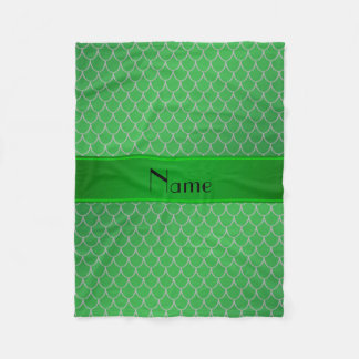 Personalized name green dragon scales fleece blanket
