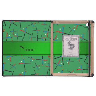 Personalized name green field hockey pattern iPad cases
