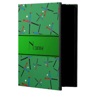Personalized name green field hockey pattern case for iPad air