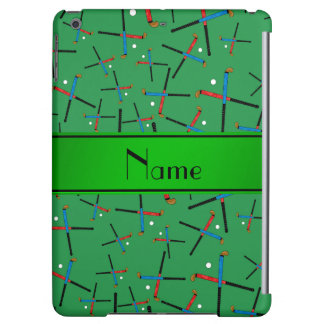 Personalized name green field hockey pattern iPad air case