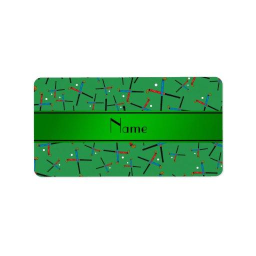 Personalized name green field hockey pattern custom address label