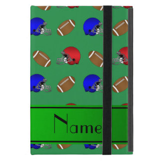 Personalized name green footballs helmets cover for iPad mini