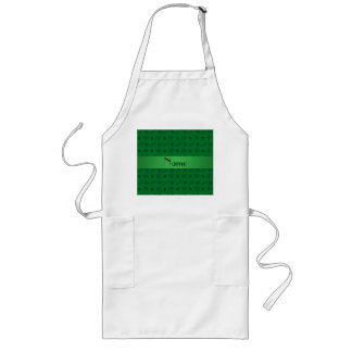 Personalized name green geek pattern long apron