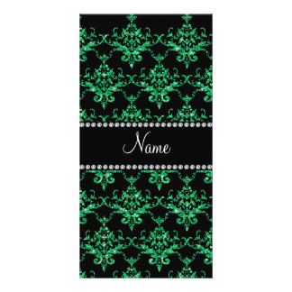 Personalized name green glitter damask picture card