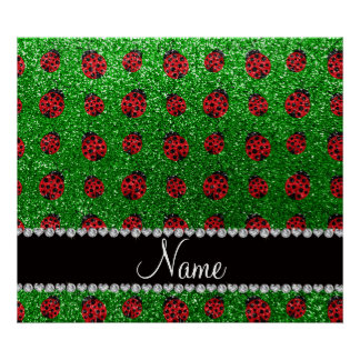 Personalized name green glitter ladybug poster