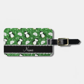 Personalized name green glitter penguins igloos luggage tag