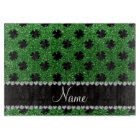 Personalized name green glitter shamrocks cutting board