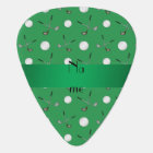 Personalized name green golf balls guitar pick