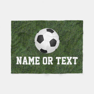 Personalized Name Green Grass Soccer Boys Fleece Blanket