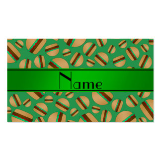 Personalized name green hamburger pattern business card template