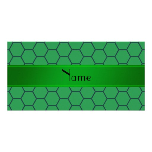 Personalized name green honeycomb personalized photo card