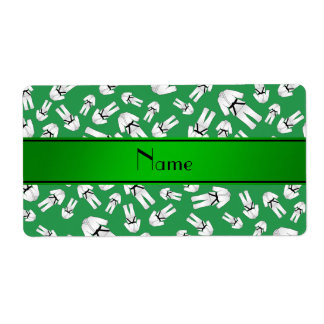 Personalized name green karate pattern custom shipping labels