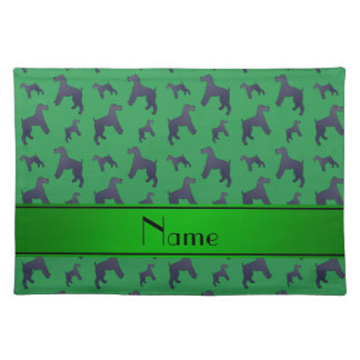 Personalized name green Kerry Blue Terrier dogs Placemats