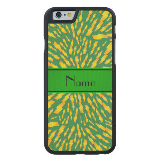 Personalized name green lightning bolts carved® maple iPhone 6 slim case