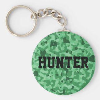 Personalized Name Green Military Camo Pattern Basic Round Button Keychain