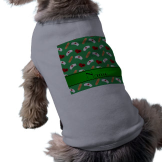 Personalized name green nurse pattern dog t shirt