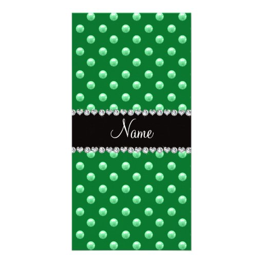 Personalized name green pearls customized photo card