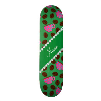 Personalized name green pink coffee cups beans skateboard deck