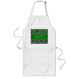 Personalized name green pirate ships apron