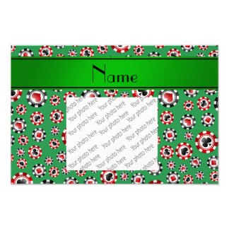 Personalized name green poker chips photo print