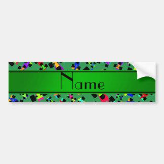 Personalized name green race car pattern bumper sticker