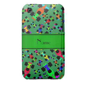 Personalized name green race car pattern iPhone 3 Case-Mate case