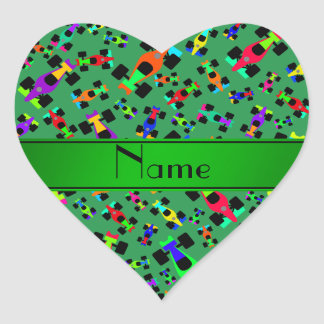 Personalized name green race car pattern heart sticker
