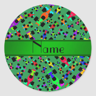 Personalized name green race car pattern round sticker