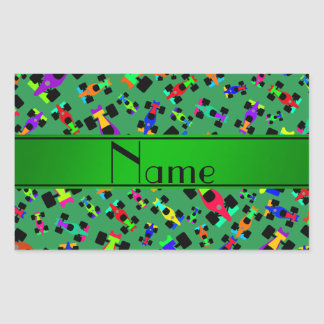 Personalized name green race car pattern rectangular sticker