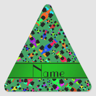 Personalized name green race car pattern triangle sticker