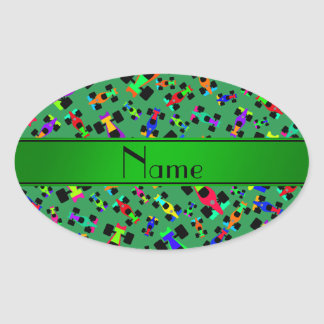 Personalized name green race car pattern oval sticker