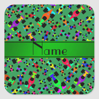 Personalized name green race car pattern square sticker