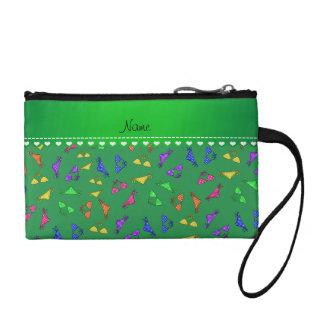 Personalized name green rainbow bikinis coin purses