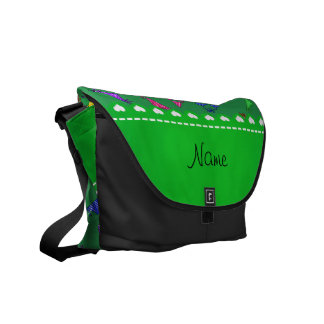 Personalized name green rainbow bikinis courier bags