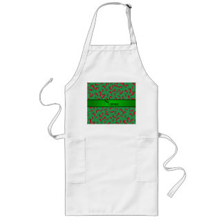 Personalized name green red chili pepper long apron