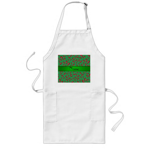 Personalized name green red chili pepper aprons