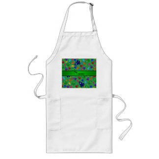 Personalized name green rocket ships aprons