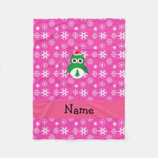 Personalized name green santa owl pink snowflakes fleece blanket