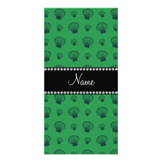Personalized name green shells photo greeting card