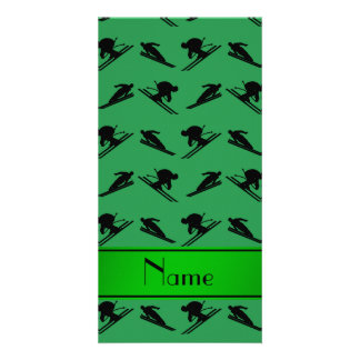 Personalized name green ski pattern customized photo card