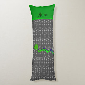 Personalized name green snake grey bubbles body pillow