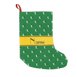 Personalized name green soccer yellow stripe small christmas stocking