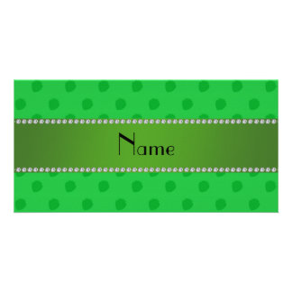 Personalized name green strawberries picture card
