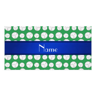Personalized name green volleyball blue stripe photo card template