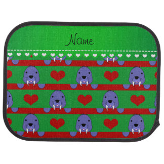 Personalized name green walrus red hearts stripes floor mat