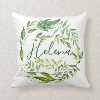Personalized Name Green Watercolor Leaves Love Throw Pillow
