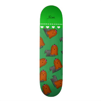 Personalized name green yorkshire terriers skate deck