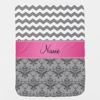 Personalized name Grey damask grey chevrons Baby Blanket